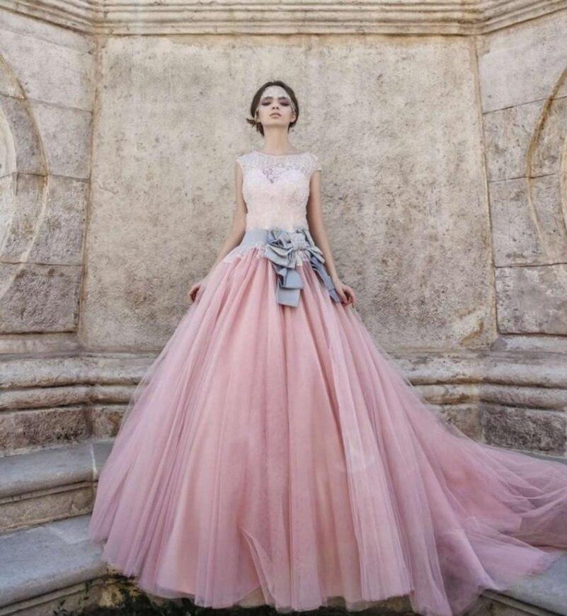 Vestido De Noiva Brautkleid Tulle Lang Puffy Farbe Vintage Rosa