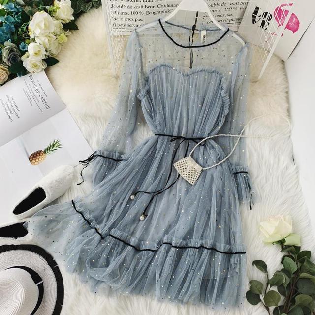HISUMA spring summer new women Star sequins gauze flare sleeve lace-up Princess dress female elegant o-neck mesh puff dresses 3
