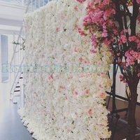 7.9ft x 7.9ft Luxury White With Hot Pink Flower backdrop Wedding Flower Wall Artifical Rose Stage Decoration