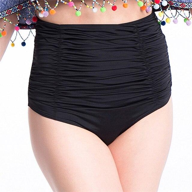 cff9520071 New Arrival High Waist Swim Trunks Bikini Bottoms Women Beach Black Swimwear  Cover Belly Slim Swimming Shorts Plus Size Female