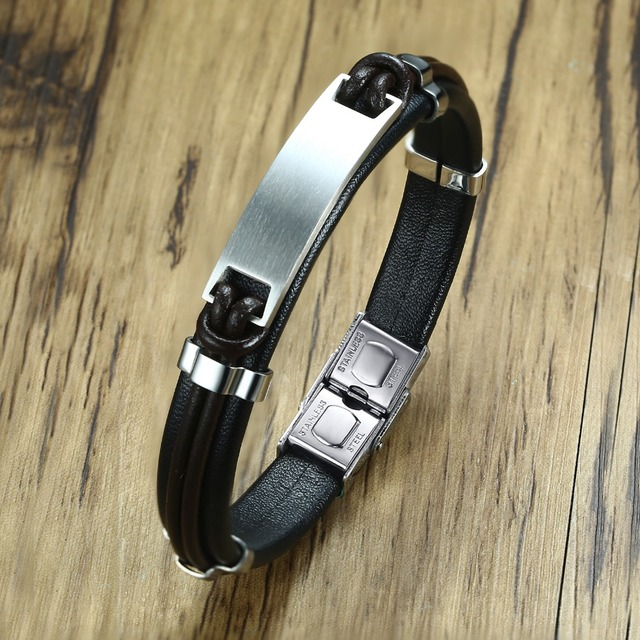 Personalized Custom Black Leather Id Bracelet For Men Stainless Steel Tag Bangle Wristband Gift Him