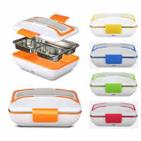 Portable Car Truck Electric Heating Lunch Box Travel Food Warm Heater Storage Container Stainless Steel Rice Cookers Box Warmer