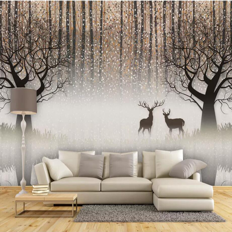 YOUMAN Custom 3d Photo Wallpaper Mural Hand-painted New Chinese 3D Forest Murals Living Room Soft Background Decorative Yellow custom nordic simple dandelion hand painted floral background wall paper decorative painting factory wholesale wallpaper mural c