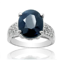 2017 Real Qi Xuan_Fashion Jewelry_big Dark Blue Stone Elegant Rings_S925 Solid Sliver Fashion Rings_Manufacturer Directly Sale
