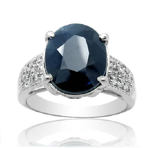Réel Qi Xuan_Fashion bijoux _ big pierre bleu foncé élégant Rings_S925 solide argent mode rings_fabricant directement vente