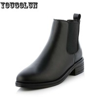 YOUGOLUN Women Spring Autumn Genuine Leather Ankle Boots Fashion Lady Low Square Heel Shoes Elegant Woman Black Round toe Shoes