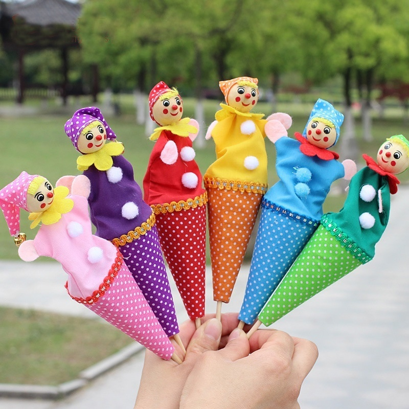Cute Wood Cloth Retractable Clown Smiling Face Hide & Seek Play Jingle Bell Toy Kids Funny Toy Baby Toys