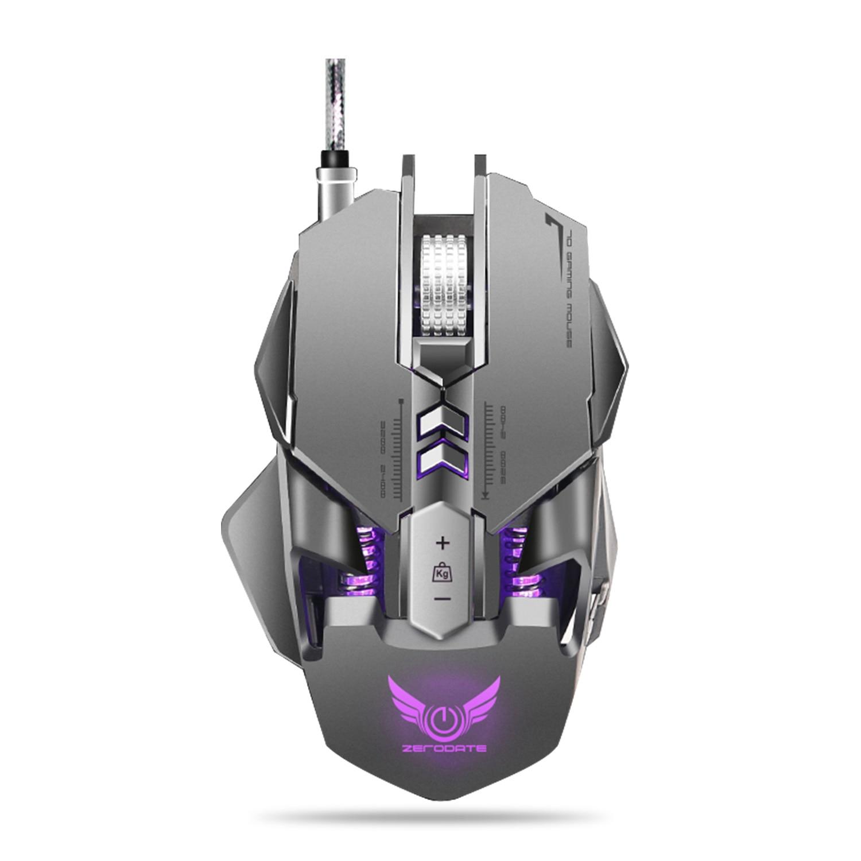 Rocketek USB Wired Mechanical Mouse for PUBG gaming 12-level adjustable DPI Max 32000 7 keys Backlit game mouse