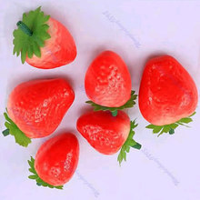 цена на 30pcs Fake Strawberry Artificial Fruit Model House Kitchen Party Decorative New Free shipping-Y102