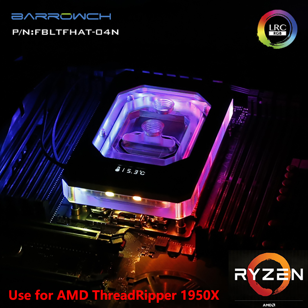 BARROW Water Cooling Radiator CPU Block use for AMD RYZEN ThreadRipper X399 1950X RGB Aurora Light Temperature Display Block