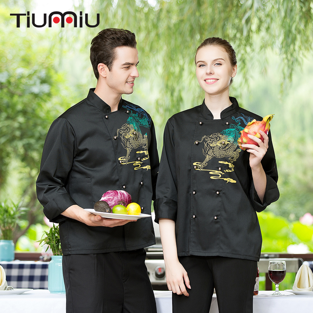 M-3XL Men Women Double Breasted Embroidery Dragon Long Sleeves Restaurant Kitchen Cook Cloth Work Uniforms Chef Jacket & Aprons
