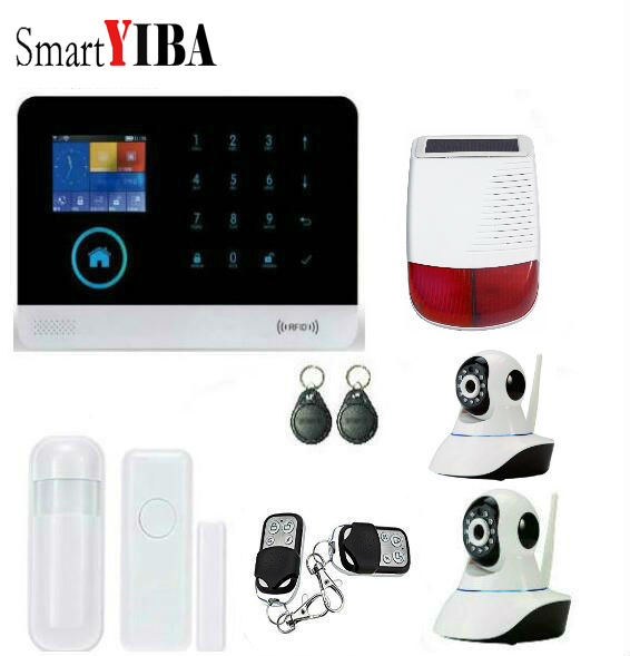 SmartYIBA GSM SMS Intruder Security font b Alarm b font System With WIFI APP Security Camera