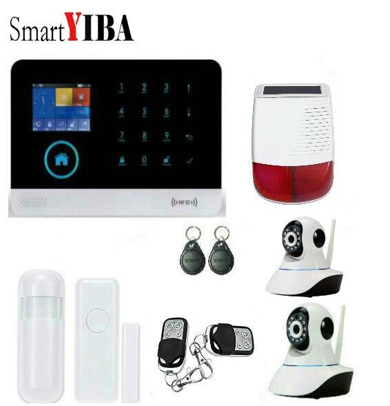Smartyiba GSM SMS охранной Охранной Сигнализации Системы с WI FI приложение безопасности Камера комплект сигнализации + солнечные Сирена + инфракрас