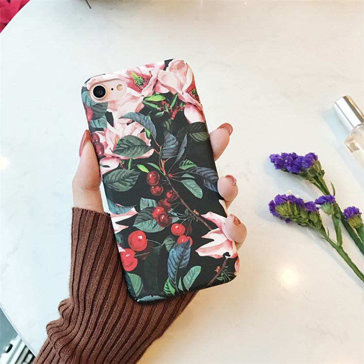 Fahion Retro Flower Cherry Tree for iPhone7 plus Case Cover for iPhone 6 6s 6plus 6splus Frosted Hard Case Oil Painting Style