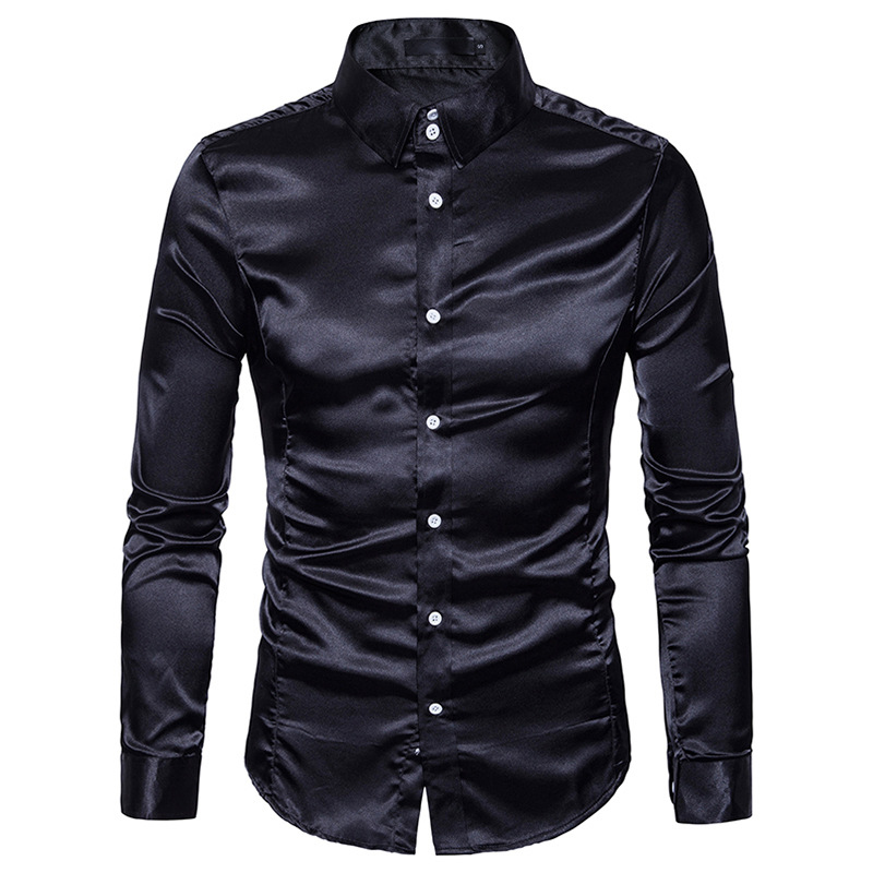 Black Silk Shirt Men 2018 Brand New Slim Fit Long Sleeve Silk Satin Dress Shirt Mens Business Wedding Groom Tuxedo Shirts Male