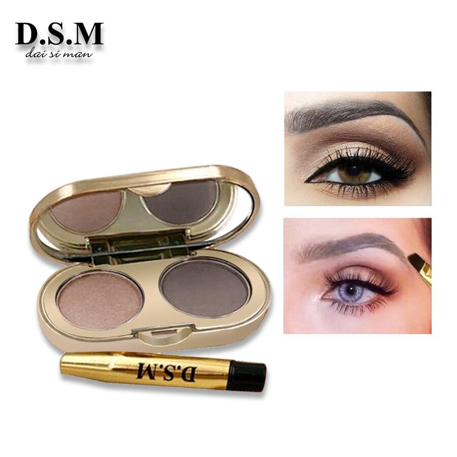 D.S.M Professionelle Augenbraue Pulver 2 Farben Wasserdichte Augenbraue Nicht-wisch Auge Stirn Make-Up Lidschatten-palette Kosmetik Make-Up Kit