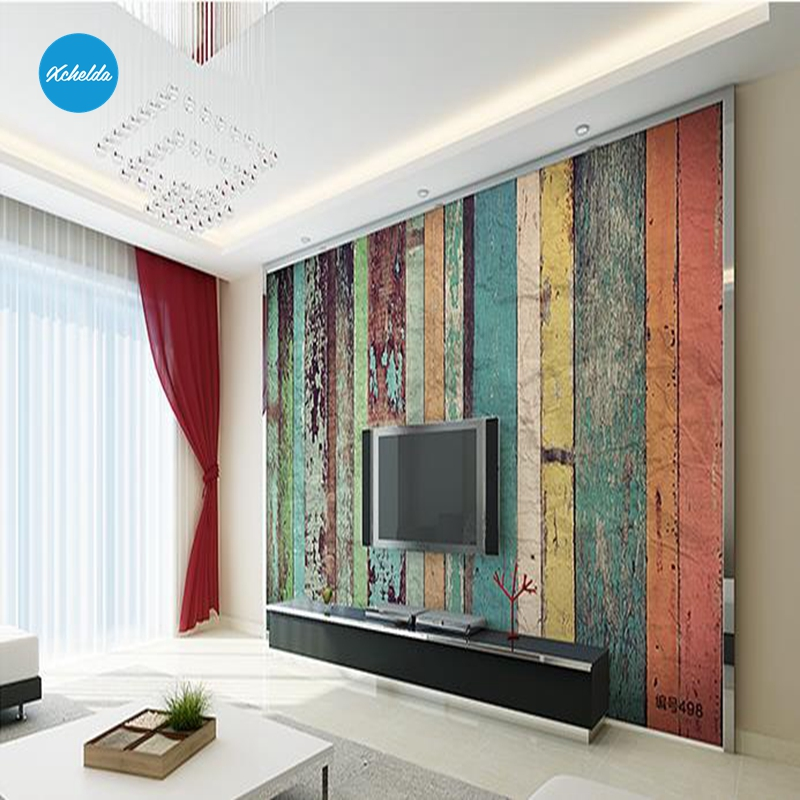 XCHELDA Custom Modern Luxury Photo Wall Mural 3D Wallpaper Papel De Parede Living Room Tv Backdrop Wall Paper Of Colorful Wood custom children wallpaper multicolored crayons 3d cartoon mural for living room bedroom hotel backdrop vinyl papel de parede