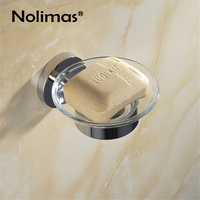 SUS 304 Stainless Steel Bathroom Soap Holder With Glass Modern Smooth Mirror Square Soap Dish Shelf