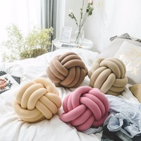 Nordic Style Velvet Knot Ball Cushion Pillow Solid Color Baby Calm Sleep Dolls Stuffed Toys Kid Adult Bedroom Decoration Soft