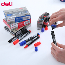 Deli marker pen oil permanent ink addible blue red black markers office school stationary 1pcs marker pens PEN ink and marker цены