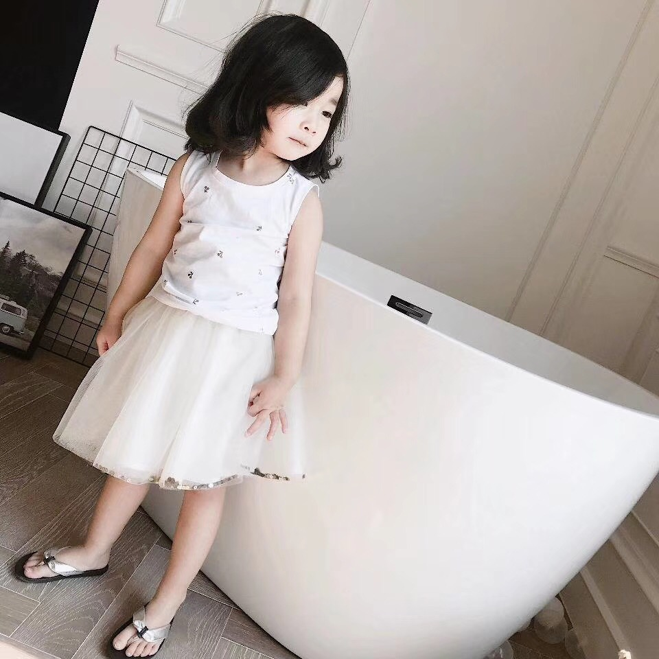 In stock baby girl summer clothes boys tshirt Bronzing small cherry full printing tops kids cotton vest tees