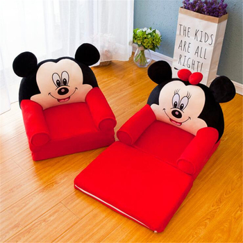 Foldable Baby Kids Cartoon Crown Sofa Seat Children Princess Chair Neat Puff Skin Children Lazy Backrest Plush Seats Cushion