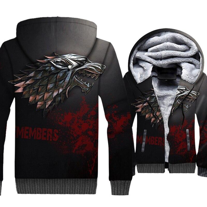 TV Show Game Of Thrones House Stark/Targaryen/Lannister 3D Hoodie Men 2019 Winter Warm Thick Jackets Plus Size Sweatshirt M-5XL