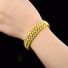12MM Male Bracelet Women Jewelry  Masculine Fashion 24k Gold Filled Chunky Chain Link Bileklik For Men Pulseira