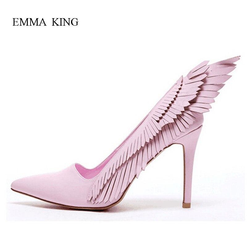 De Bombas Pink Mujer En Alto Las Fiesta Dedo Pie Deslizamiento Puntiagudo Del Alas Boca Tacón Rosa Moda Zapatos Baja Mujeres Vestido Boda z1BqwxRndz