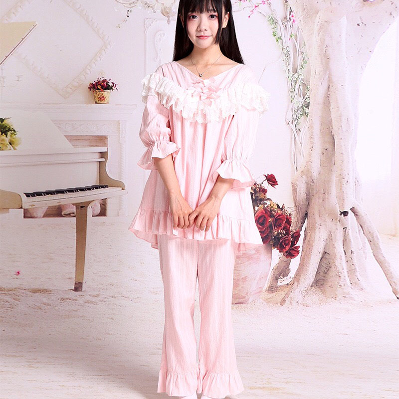 Women Spring Lolita Pink White Cotton Pajamas 1/2 Sleeves Layer Lace Ruched Top Shirt Pants Ruffle Sleepwear Nightwear For Lady