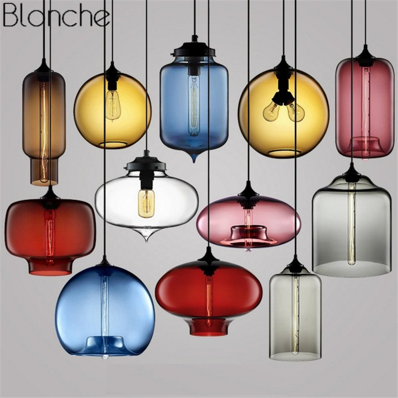 Modern Stained Glass Led Pendant Lights Nordic Colorful Hanging Lamp Living Room Kitchen Home Loft Industrial