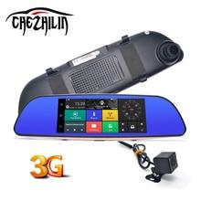 7 дюймов автомобиля Камера 3 г WCDMA Android 5.0 DVR Bluetooth FM WI-FI Двойной объектив зеркало заднего вида видеокамеры регистраторы видеорегистраторы