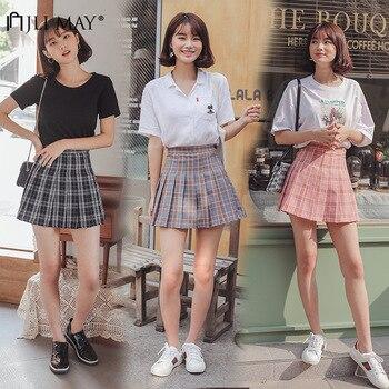 f51234ac68 La JLI puede cintura alta Falda plisada azul Faldas niñas Harajuku falda  tela a cuadros sólida línea Mini Japón estilo coreano uniforme de la  Escuela de las ...