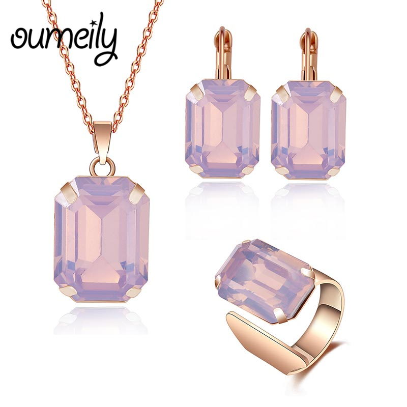 OUMEILY Ethiopian African Beads Jewelry Set Imitation Crystal Austrian Wedding Jewelry Sets for Women Gold Color Jewellery