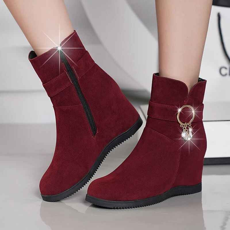 Women Zip High Heel Boots Ladies Suede Wedge Ankle Boot Female Fashion Casual Shoes Comfort Footwear Plus Size C037