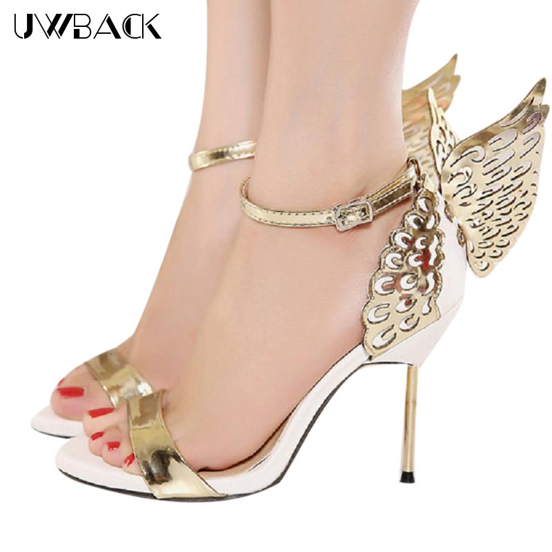 ФОТО Plus Size 2017 New Style Women Summer Gold Wing Heels Peep Toe Super High Thin Heels Sexy Sandals Buckle Strap Party Shoes XJ362