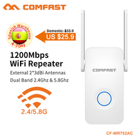 COMFAST 1200Mbps WiFi Repeater Dual Band WiFi Signal Amplifier Wireless Router Long WiFi Range Extender Router CF WR752AC