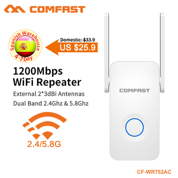 COMFAST 1200Mbps WiFi Repeater Dual Band WiFi Signal Amplifier Wireless Router Long WiFi Range Extender Router CF-WR752AC-V2