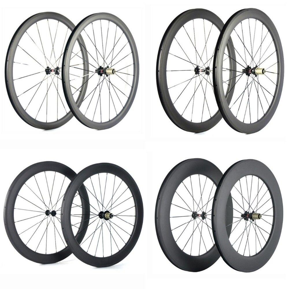 Roues de vélo de route en carbone Spcycle 700C 38mm 50mm 60mm 88mm paire de roues de vélo en carbone pneu 25mm largeur roues de vélo de route en carbone