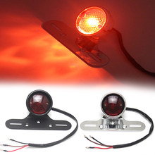 Motorcycle Tail Rear Light Bulb LED Round Red Brake Light Turn Signal Lamp for Cafe Racer Chopper Bobber Moto Accessories(China)