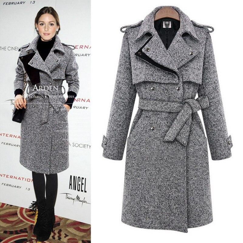 2019 new slender high quality wool blend lady s winter long coat elegant warm women coat