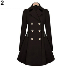 Ladies Fashion Lapel Long Winter Coat Double-breasted Outwear Slim Fit Dust Coat