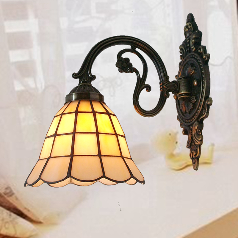 Zinc Alloy European minimalist bedroom bedside lamp glass wall lamp Bar Tiffany nostalgic antique mirror before lighting