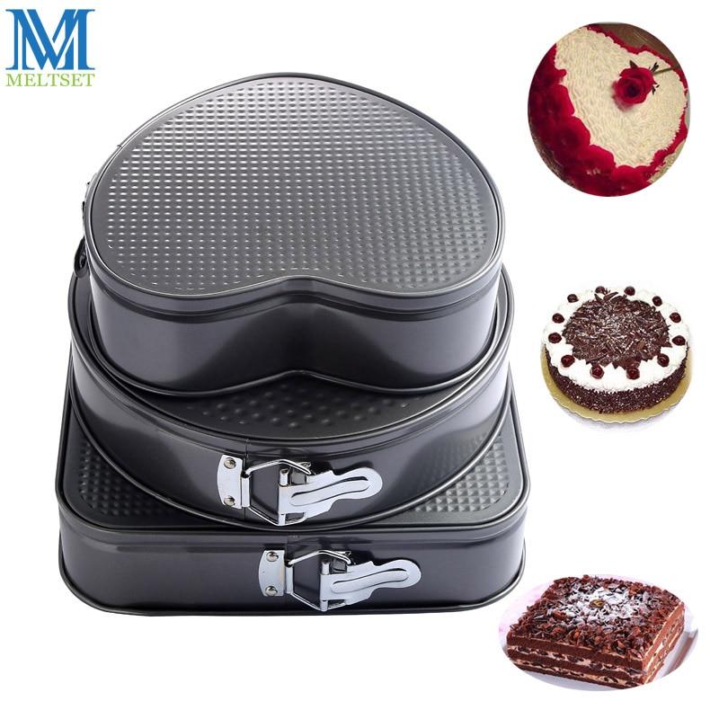 3pcs/Set Non stick Springform Pan Cake Mold Heart Round Square Shape Slipknot Baking Molds Decorating Tools Bakeware Set|springform pan - title=