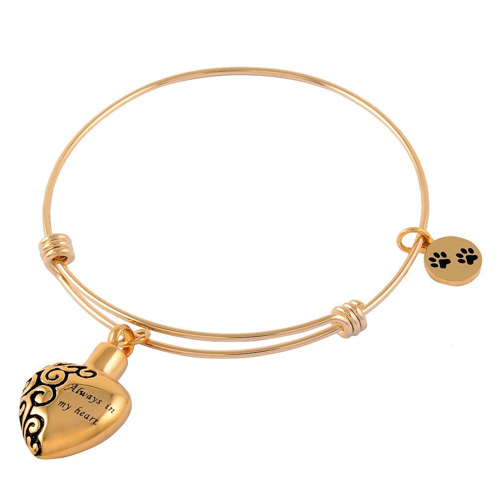 Ijb5028 золотое покрытие Нержавеющаясталь всегда в моем сердце Keepsake Мемориал кремации урна браслет и браслет для ПЭТ пепел