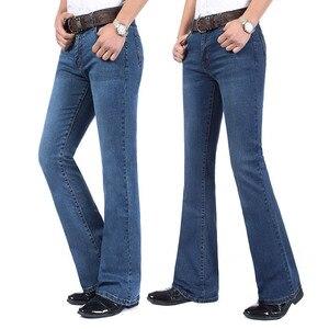 Image 2 - משלוח חינם גברים של באיכות גבוהה עסקי מזדמן אתחול לחתוך ג ינס אמצע מותניים אבוקות התלקח חצי תחתון מכנסיים בתוספת גודל 27 38