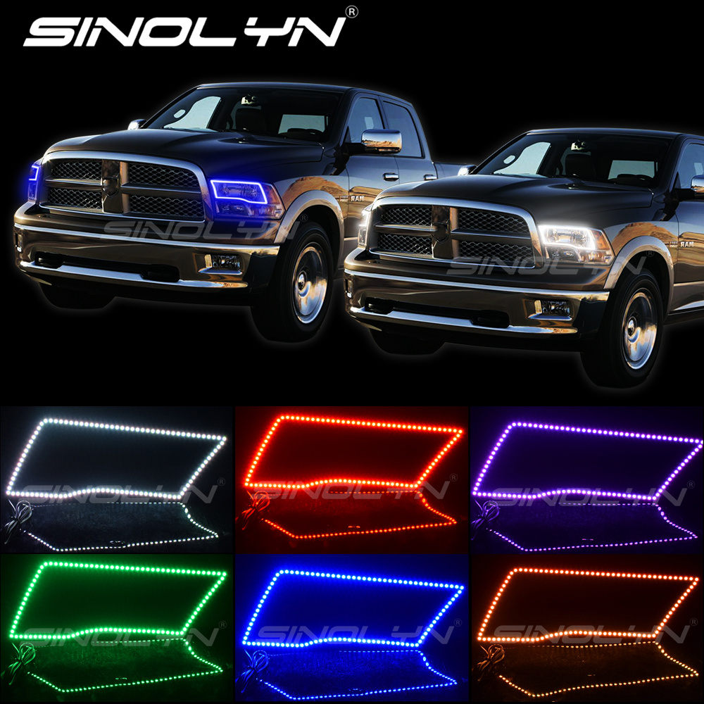 RGB Multi Color LED Angel Eyes Kit Daytime Running Light SMD Halos For Dodge Ram Sport