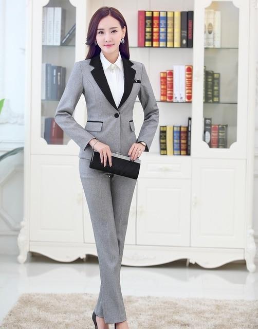 Formal Pantsuits Women Business Suits Formal Office Suits Work Pant and Jackets Sets Gray Blazer Ladies Beauty Salon Uniforms