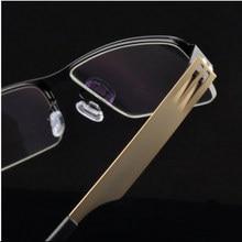 Súper Delgada Mens Media Llanta Gafas Marco de aleación ligera de Primavera Con Bisagras Óptica Gafas estilo de Empresas de moda de Oro 7658