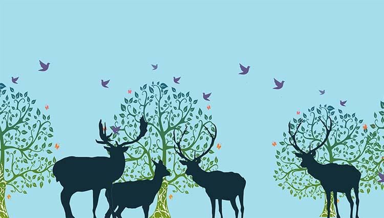 Forest Dulce Mujeres Falda Para Printed Deer Short Jumper Plisada Las Azul wIqRxagOaP